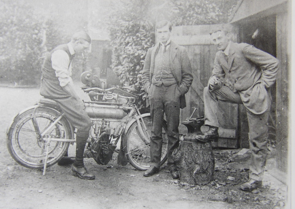 Stewart and Leopold Broadwood and Friend with Motorbike