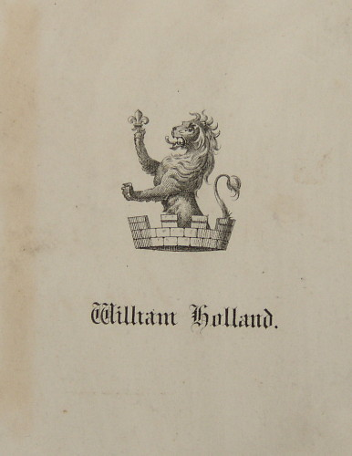 Bookplate of William Holland with lion crest