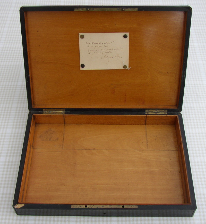 Inside of Watercolour box belonging to Lucy Genevieve Teresa Ward