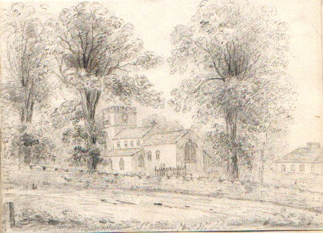 Pencil drawing of the Church of St Mary the Virgin Burnham Westgate Norfolk Enlgand 1830ish