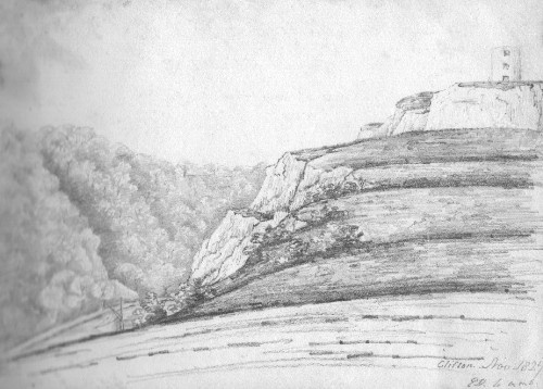 Pencil sketch of Clifton Bristol 1827