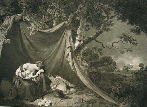 Engraving of The Dead Soldier painted by the artist Joseph Wright of Derby engraved by the engraver James Heath ARA 1797