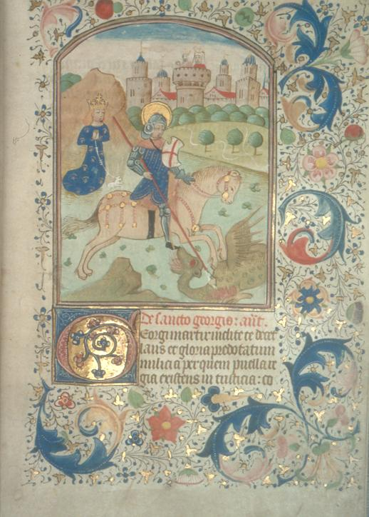 "St George, from the ""Rossdhu Book of Hours"" owned by Lady Elizabeth Dunbar, Countess of Moray of Westfield, Morayshire, Scotland 1425-1494"
