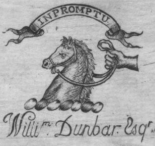 Bookplate of William Dunbar of Finch Lane, London, who died in 1800 Inpromptu