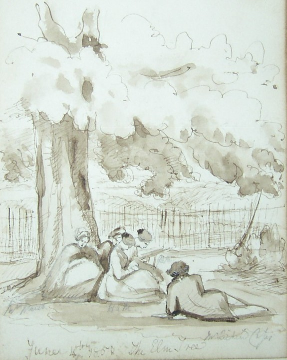 Drawing of the Marsh family reading under a tree on the Eastbury Estate near Watford in the early 1850s.