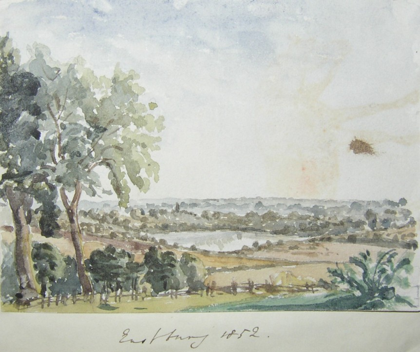 Drawing of the lake from the Eastbury Estate near Watford in the early 1850s.  Home of the Marsh family.