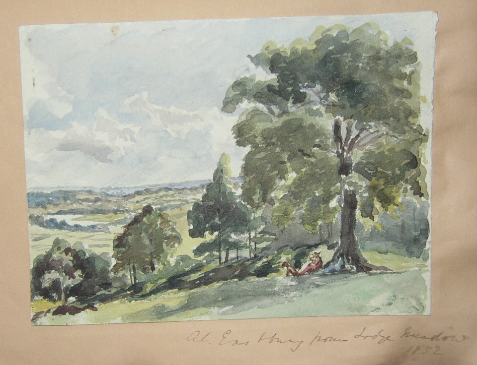 Drawing of the countryside from Lodge Meadow on the Eastbury Estate near Watford in the early 1850s.  Home of the Marsh family.