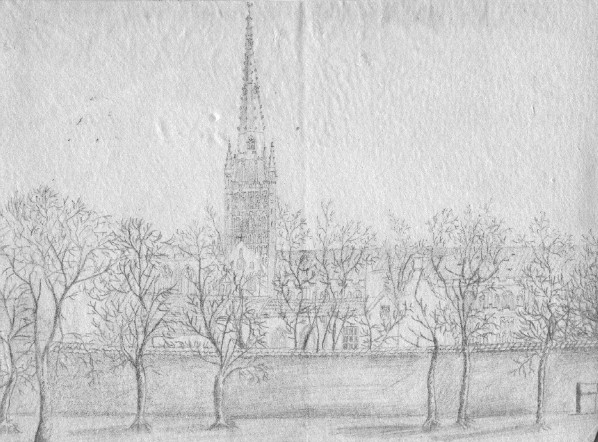 Pencil drawing of Ely Cathedral drawn 1830ish