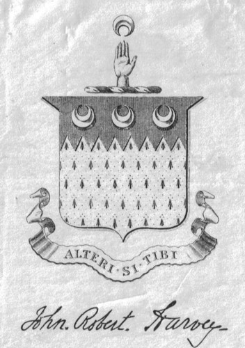 Bookplate of John Robert Harvey Alteri Si Tibi