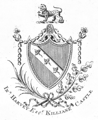 Bookplate of In Harvey Esq Killiane Castle Possibly of Marlin Hall, Donegal in Ireland & the Harvey's of Londonberry