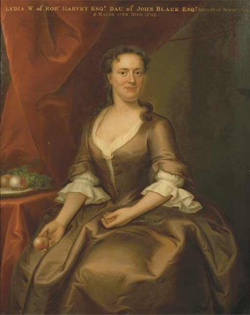 Portrait of Lydia Harvey nee Black (1699-1759) who married Robert Harvey (1697-1773).  They lived in Norwich, Norfolk.