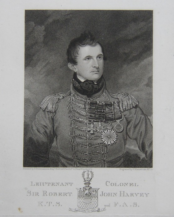 Portrait of Maj Gen Sir Robert John Harvey 1785-1860 Of Mousewood House, Norfolk. From the painting by T Stewardson Esq Portrait Painter to Her Majesty. Engraved by C Knight 1821.