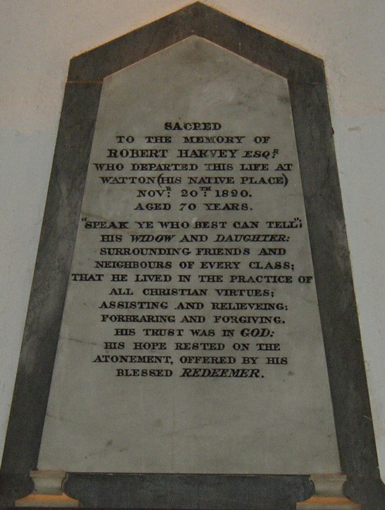 Memorial to Robert Harvey of Watton 1753-1820 Located inside St Mary's Church Watton Norfolk