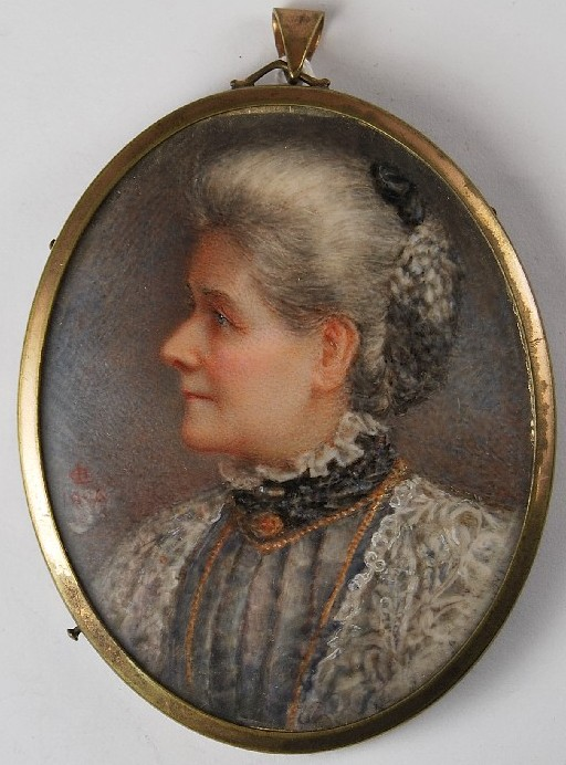 Miniature portrait of a lady by the artist Henry Charles Heath 1829-1898 painter