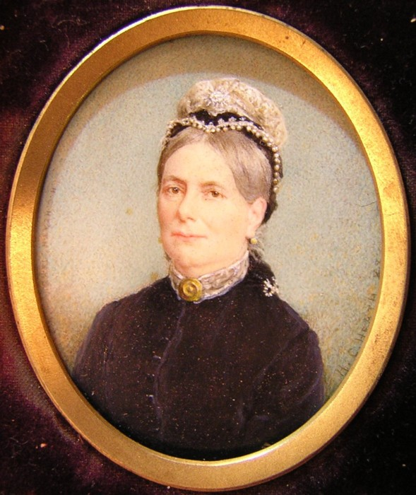 Miniature portrait of Mrs King by the artist Henry Charles Heath 1829-1898 painter