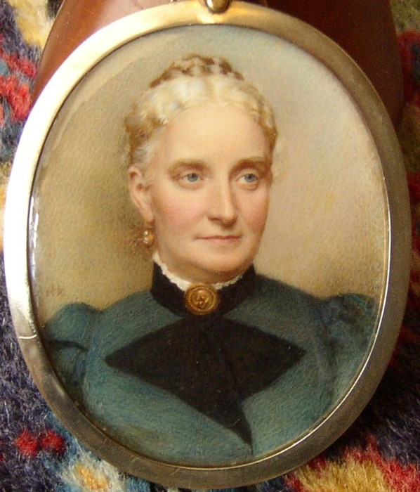 Miniature portrait of Mary Drabble nee Hayward of Rotherham by the artist Henry Charles Heath 1829-1898 painter