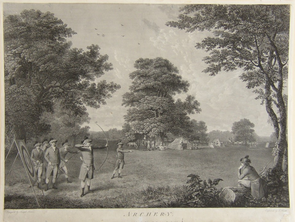 Engraving of Archery at Blackheath from the painting by the artist Joseph Slater.  Engraved by the engraver James Heath ARA and published 2 March 1789 by the promoter J Slater of Kennington Row, Lambeth.