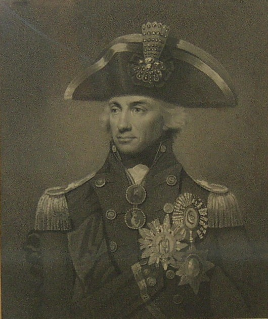 Portrait of The Right Hon Lord Nelson KB Vice Admiral of the Blue. Engraved by James Heath Historical Engaver to his Majesty, from an original Picture painted by Lemuel Abbott