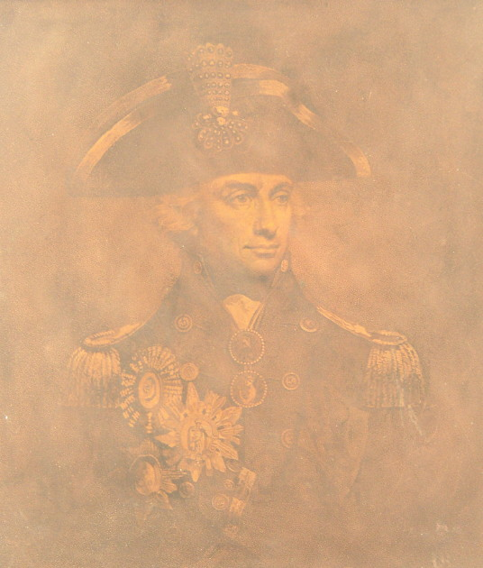 Original copper plate engraved by James Heath showing the portrait of Nelson taken from the original portrait by Lemuel Francis Abbott