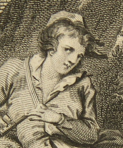 Detail from the engraving of the Piping Boy engraved by James Heath for the Poems of John Hughes dated 26 July 1779. From the drawing by Thomas Stothard.