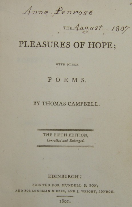 Title page from The Pleasures of Hope with Other Poems by Thomas Campbell. The fifth edition, corrected and enlarged.  Edinburgh: printed for Mundell & Son Longman & Rees and J Wright London.  1801. Illustrated by Edward Francis Burney. Engravings by James Heath, James Fittler and John Neagle.