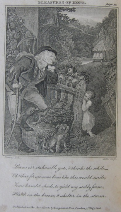 Illustration from The Pleasures of Hope with Other Poems by Thomas Campbell. The fifth edition, corrected and enlarged.  Edinburgh: printed for Mundell & Son Longman & Rees and J Wright London.  1801. Illustrated by Edward Francis Burney. Engravings by James Heath, James Fittler and John Neagle.
