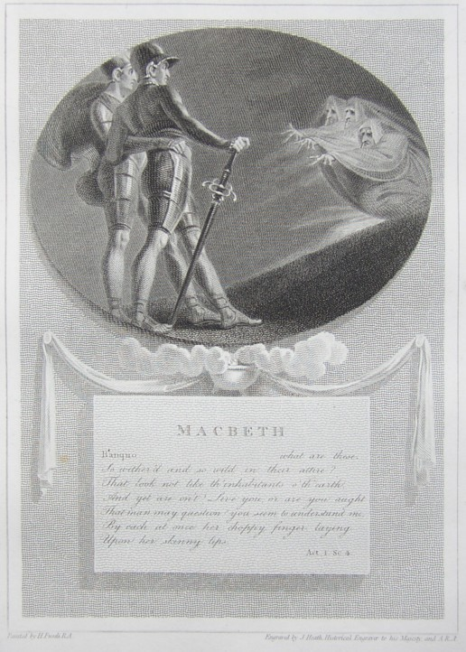 Engraving of Macbeth by William Shakespeare.  Painted by the artist painter Henry Fuseli RA, Engraved by James Heath Engraver.