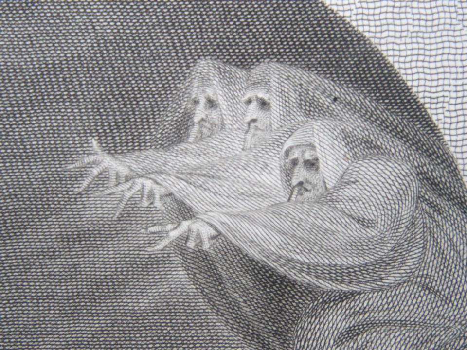 Detail of the engraving of Macbeth by William Shakespeare.  Painted by the artist painter Henry Fuseli RA, Engraved by James Heath Engraver.