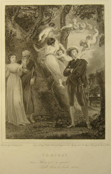 Engraving of Tempest by William Shakespeare.  Painted by the artist painter Thomas Stothard RA, Engraved by James Heath Engraver.