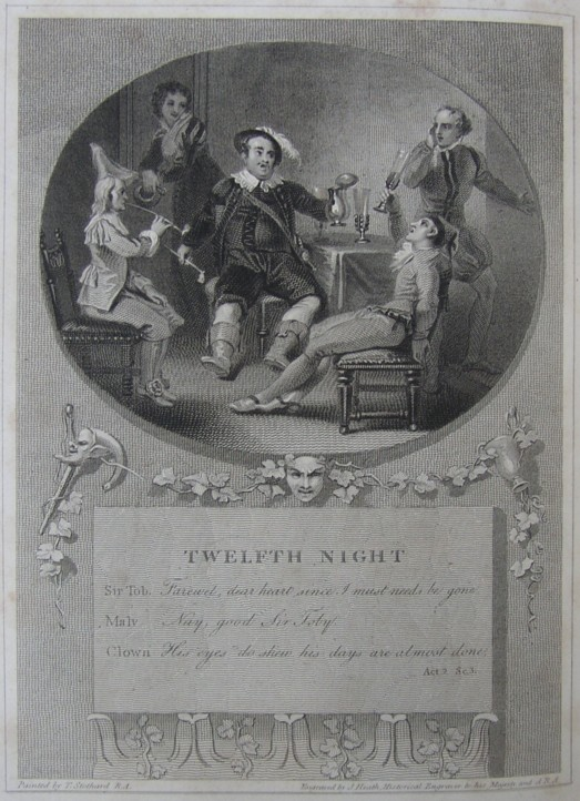 Engraving of Twelfth Night by William Shakespeare. Painted by the artist painter Thomas Stothard RA, Engraved by James Heath Engraver.