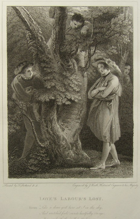 Engraving of Love's Labour's Lost by William Shakespeare. Painted by the artist painter Thomas Stothard RA, Engraved by James Heath Engraver, 1802.