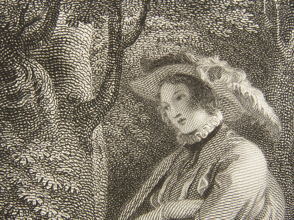 Detail of the engraving of Love's Labour's Lost by William Shakespeare. Painted by the artist painter Thomas Stothard RA, Engraved by James Heath Engraver, 1802.