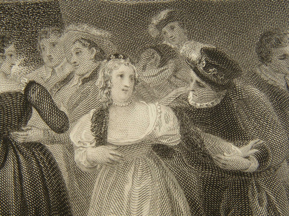 Detail from the engraving of Love's Labour's Lost by William Shakespeare. Painted by the artist painter Thomas Stothard RA, Engraved by James Heath Engraver, 1802.