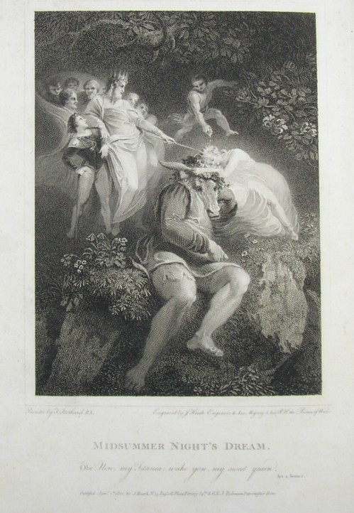 Engraving of Midsummer Night's Dream Painted by Thomas Stothard RA, Engraved by James Heath Engraver to his Majesty and his RH the Prince of Wales.