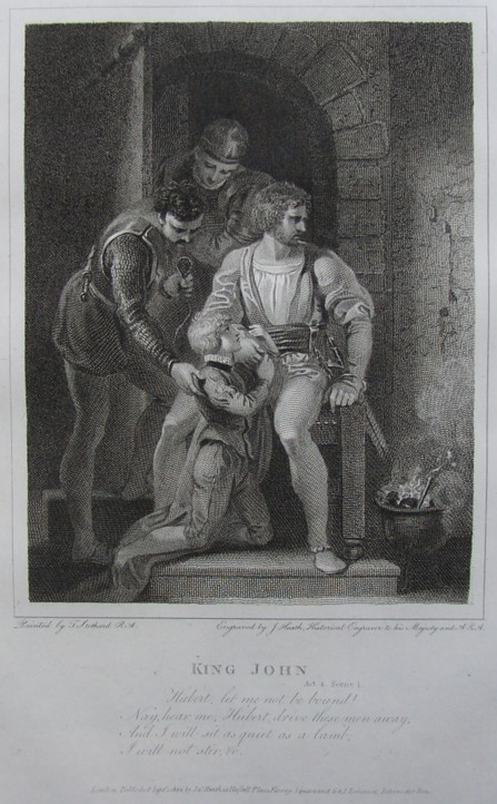 Engraving of King John by William Shakespeare. Painted by the artist painter Thomas Stothard RA, Engraved by James Heath Engraver, 1802.