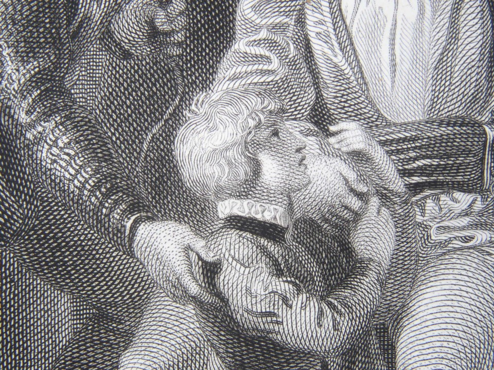 Detail from the engraving of King John by William Shakespeare. Painted by the artist painter Thomas Stothard RA, Engraved by James Heath Engraver, 1802.