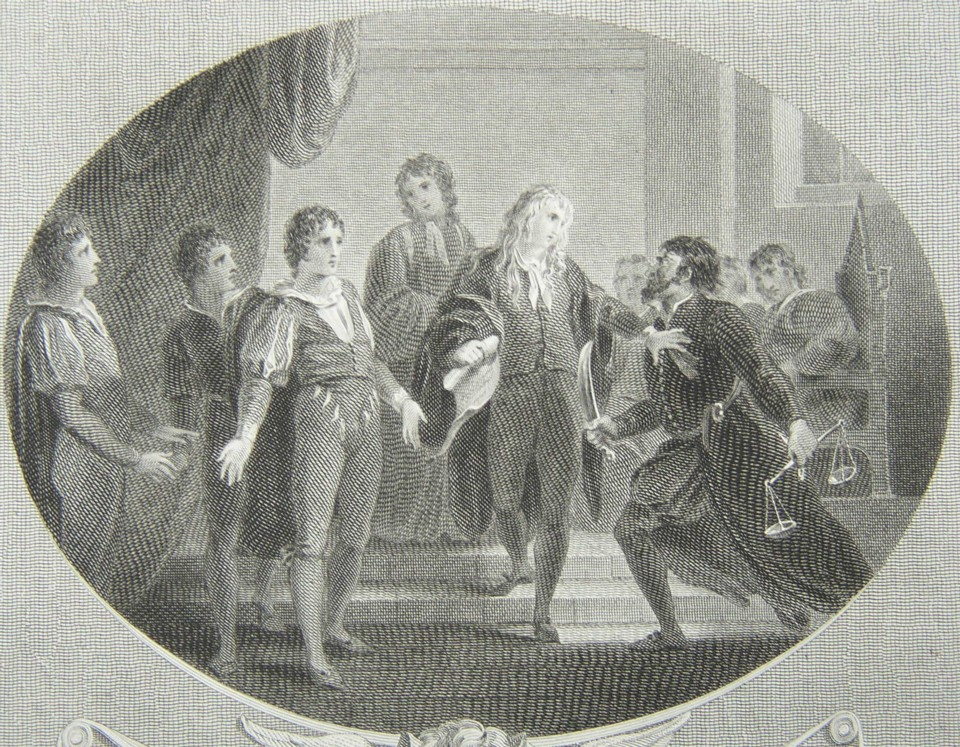 Detail from the engraving of Merchant of Venice by William Shakespeare. Painted by the artist painter William Hamilton RA, Engraved by James Heath Engraver, 1803.