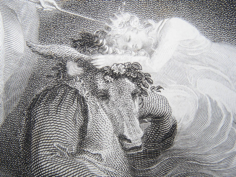 Detail from the engraving of Midsummer Night's Dream Painted by Thomas Stothard RA, Engraved by James Heath Engraver to his Majesty and his RH the Prince of Wales.