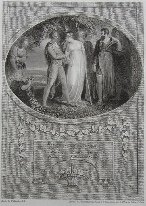 Engraving of Winter's Tale from Shakespeare Painted by the artist W Hamilton RA, Engraved by James Heath Engraver 1805