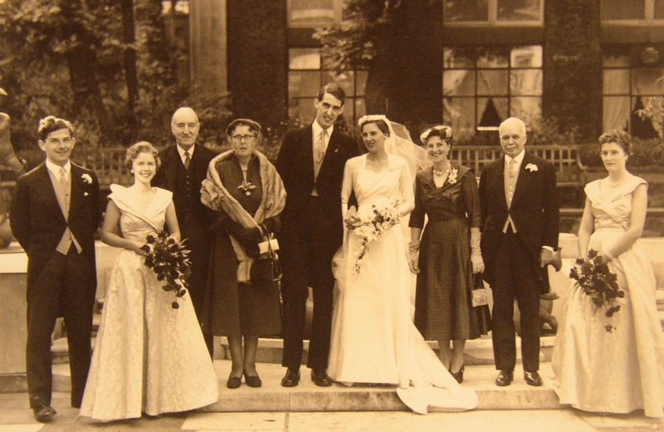 Family Photograph of the wedding of Mark Evelyn Heath and Margaret Bragg 25 September 1954 at St James, Piccadilly