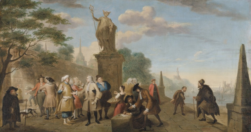 Picture titled Allegory of Trade painted by the artist John Theodore Heins 1697-1756 painter of Norwich Norfolk England