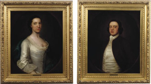 Pair of Portaits of an Unknown Couple Painted by the artist John Theordore Heins, 1755 painter