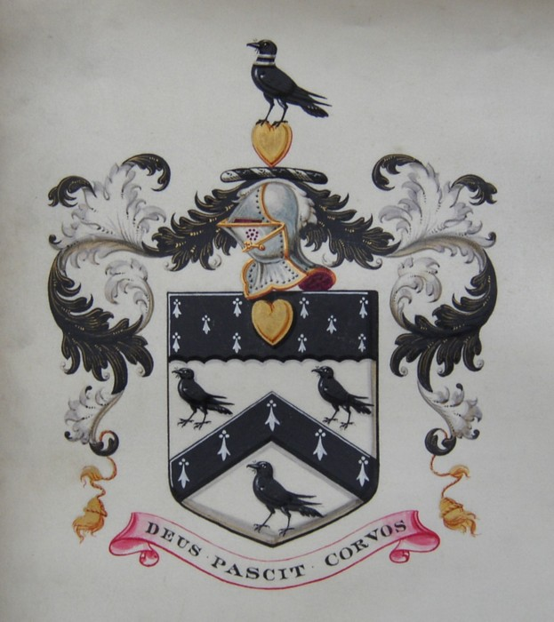 Family Coat of Arms for Col Henry Helsham Helsham-Jones 1836-1820. 'Deus Pascit Corvos' which translates; God Feeds the Ravens.