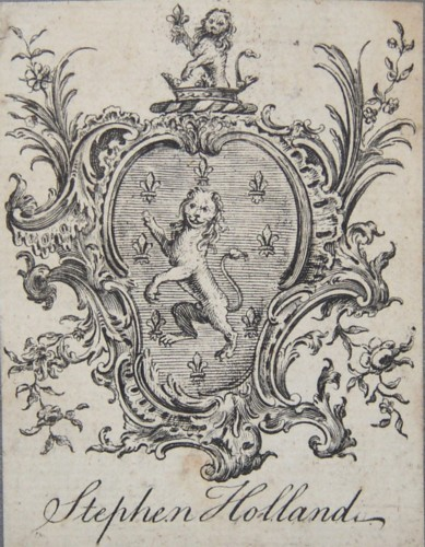 Bookplate of Stephen Holland