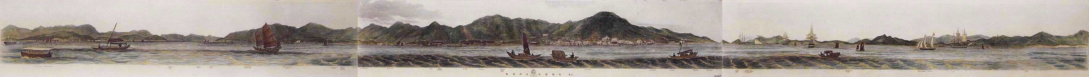 Hong Kong. As seen from the Anchorage.  Drawn by Lieut. L.G. Heath of HMS Iris 1846.