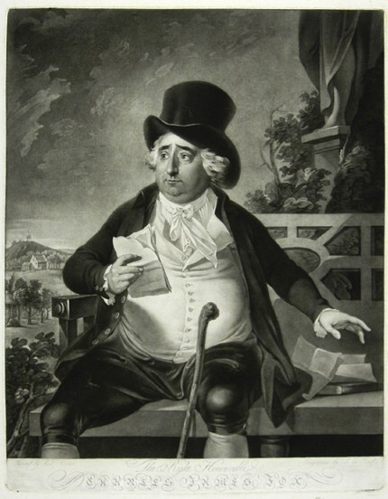 Portrait of the Right Honourable Charles James Fox Drawn by Anton Hickel, mezzotint engraved by Johann Gerhard Huck, 1782, 490mm x 385mm.