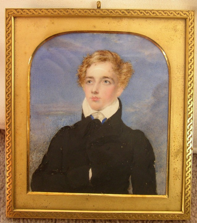 Portrait Miniature of Graham Francis Moore who later took on the name Graham Michel Esmeade 1806-1883 Painted by the artist Moses Houghton 1773-1849 painter