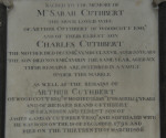 Memorial stone to Arthur Cuthbert and his wife Sarah and their son Charles and Richard Brand Cuthbert