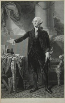 Portrait of George Washington engraved by the engraver James Heath after the picture painted by the artist Gilbert Stuart 1800