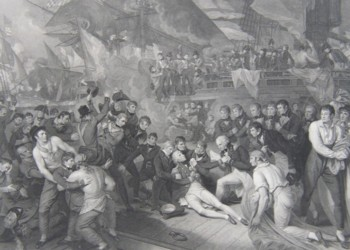 Engraving of the Death of Lord Nelson from the painting by Benjamin West, engraved by James Heath. 